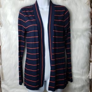 J. Crew Striped Open Front Cardigan Sweater